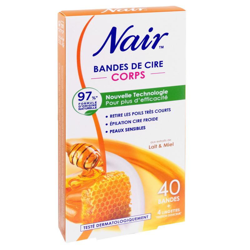 Nair - Bandes de cire corps  lait & miel